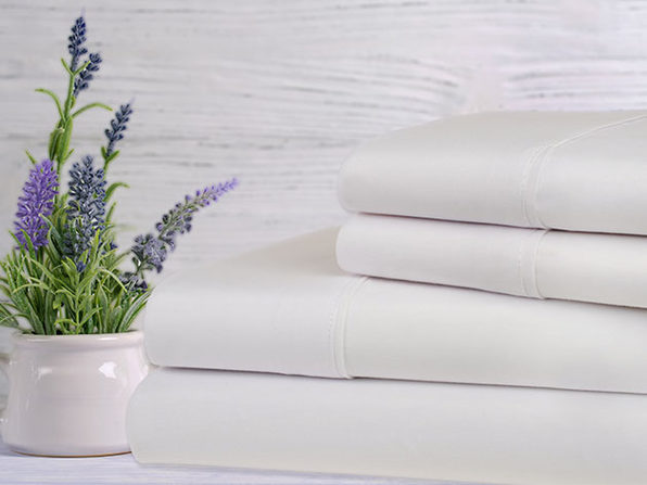 Bamboo 4-Piece Lavender Scented Sheet Set (White/King)