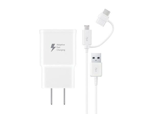 Samsung Micro USB and USB-C Fast Charge Wall Charger Bundle Combo - White