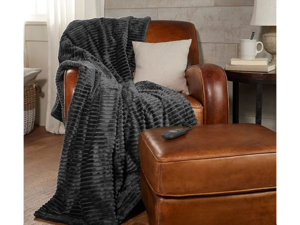 Sunbeam Ribbed Textured Velvet Plush Electric Heated Warming Throw Blanket TB16 - Grey