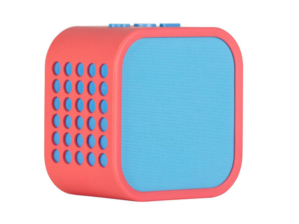 Vivitar Cube Bluetooth Speaker with Super Bass Subwoofer, Rechargeable and Portable, Melon/Blue (New Open Box)