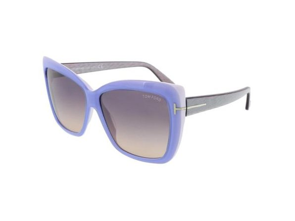 Tom Ford FT-0390 Women's Sunglasses Shiny Light Blue Frames Brown Lens - Blue