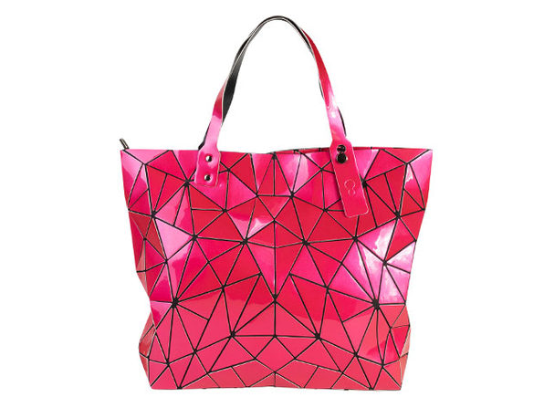 Geo Shaped Tote with Zipper - Fuschia - Product Image