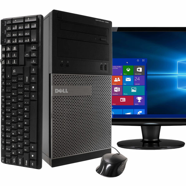 "Dell 390 Tower PC, 3.2GHz Intel i5 Quad Core Gen 2, 8GB RAM, 240GB SSD, Windows 10 Home 64 bit, 22"" Screen (Renewed)"
