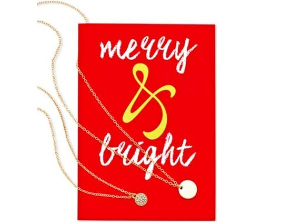 Macys Gold-Tone Multi-Chain Pavé Disc Pendant Necklace Greeting Card