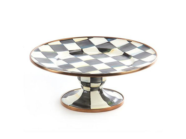 MacKenzie-Childs Courtly Check Enamel Pedestal Food Service Ware Platter - Mini - Product Image