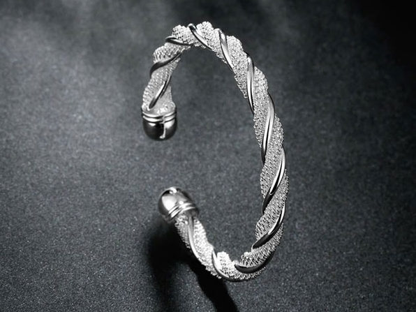 Sterling Silver Twisted Mesh Bracelet