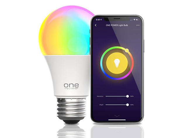 A smart bulb and it's app displayed on a phone.