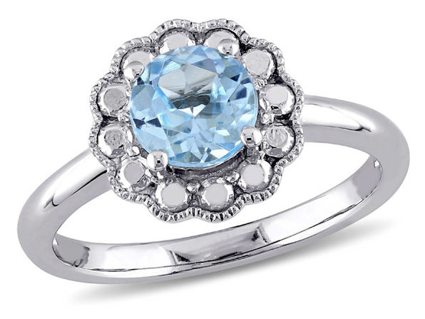 Solitaire Halo Blue Topaz Ring 1 1/4 Carat (ctw) in 10K White Gold - 9
