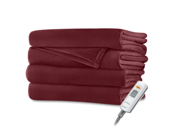 Sunbeam Velvet Plush Electric Heated Throw Blanket Garnet Red Washable Auto Shut Off 3 Heat Settings - Garnet