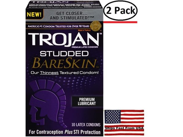 ( 2 Pack ) Trojan Studded Bareskin - 10 Pack