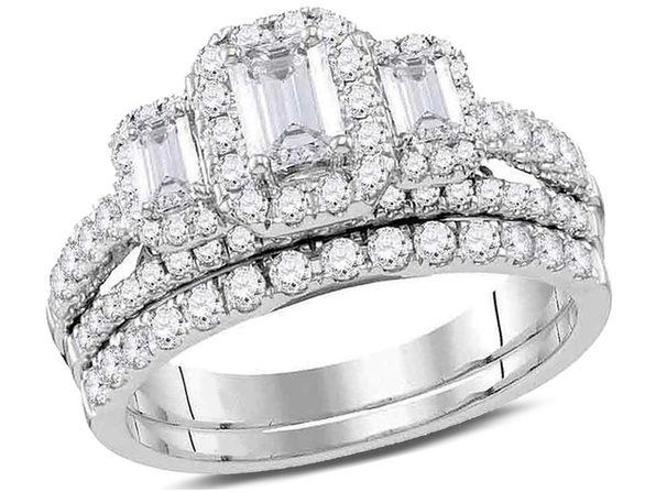 1 50 Carat Ctw G H Si2 I1 Emerald Cut Three Stone Diamond Engagement Ring Wedding Set In 14k White Gold Stacksocial