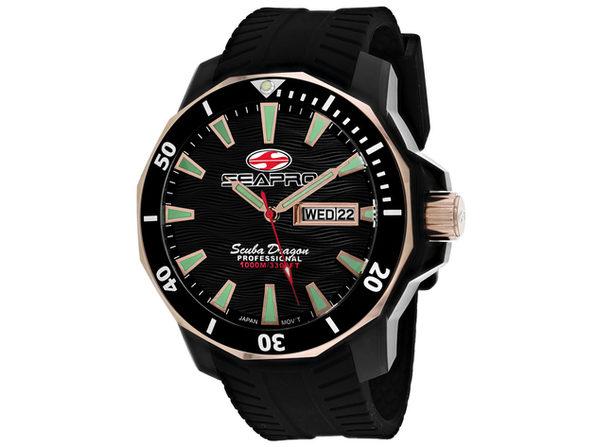 Seapro Men's Scuba Dragon Diver Limited Edition 1000 Meters Black Dial Watch SP8320