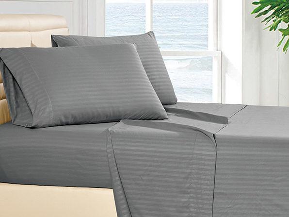 Luxury Ultra Soft 4-Piece Stripe Sheet Set (Dark Grey/Queen)