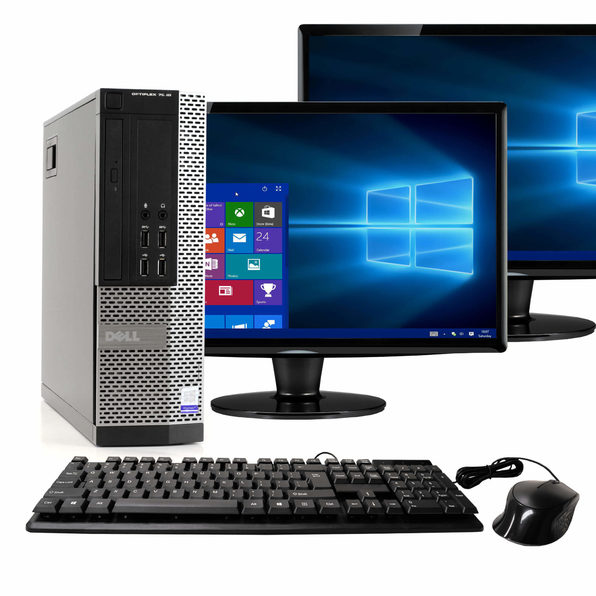 "Dell OptiPlex 7020 Desktop PC, 3.2GHz Intel i5 Dual Core Gen 4, 16GB RAM, 1TB SATA HD, Windows 10 Home 64 bit, Dual (2) 22"" Screens Screen (Renewed)"
