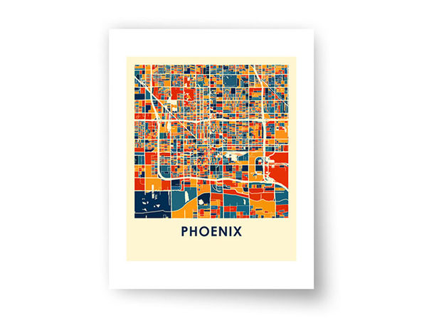 "Phoenix Prussian Color Map Print (18"" x 24"")"