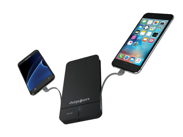 Chargeworx 5000mAh Slim Power Bank with Built-In Lightning & Micro USB Cables