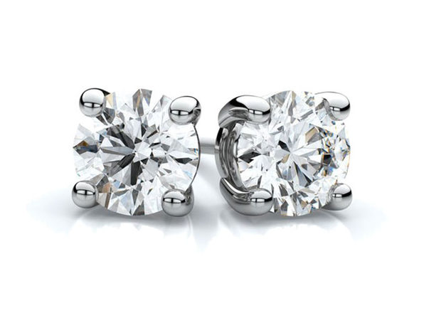 White Gold Sterling Silver 4-Prong Diamond Stud Earrings