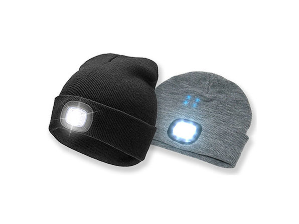 Unisex Beanie LED Rechargeable Lighted Hat: 2-Pack (Black & Grey)