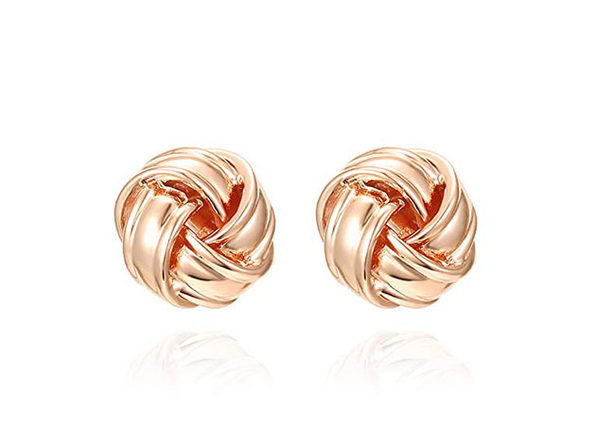 Classic Twist Knot Style Stud Earrings (Rose Gold)