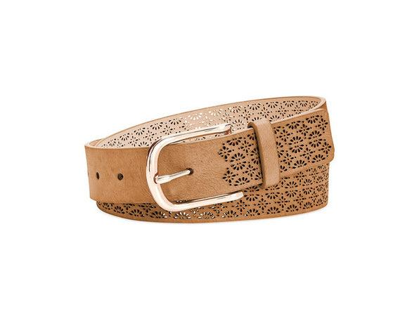 INC International Concepts Women's Perforated Belt Cognac Size Large
