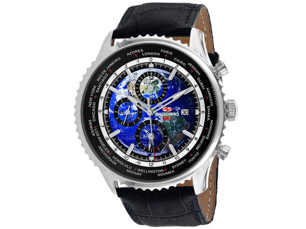 Seapro Men's Meridian World Timer GMT Blue Dial Watch - SP7130