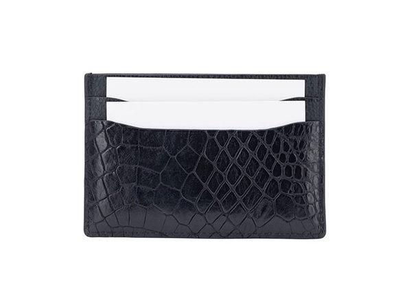 Andre Giroud exotic alligator card holder - Black - Product Image