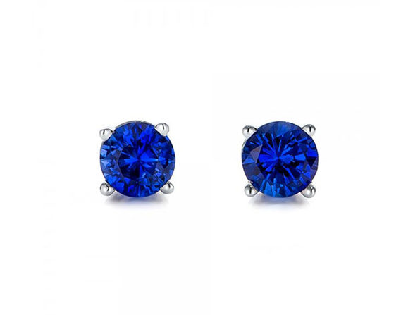 "0.28"" Birthstone Stud Earrings Made with Swarovski Crystals (Sapphire)"