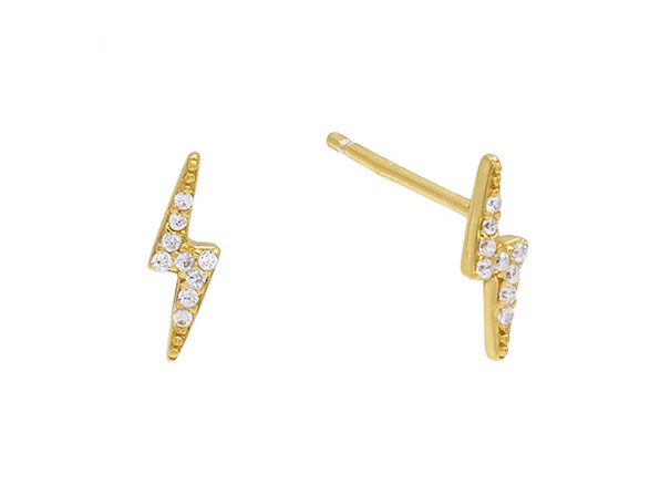 Lighting Bolt Stud Earrings with Swarovski Crystals