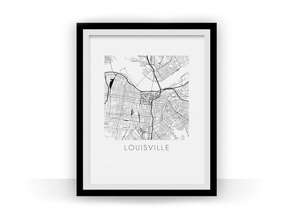 Louisville Black and White Map Prints
