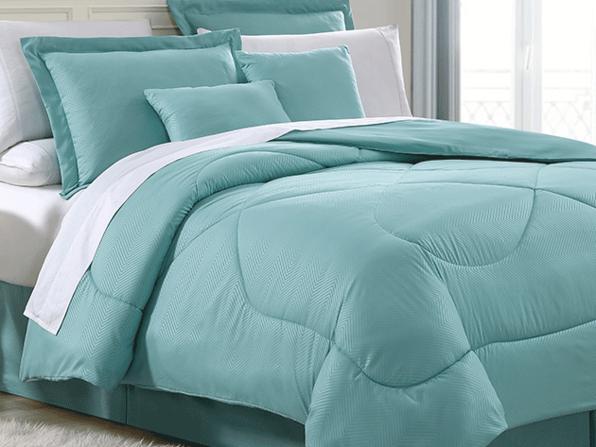 Chevron Comforter 6 Piece Set (Full/Queen) - Aqua - Product Image