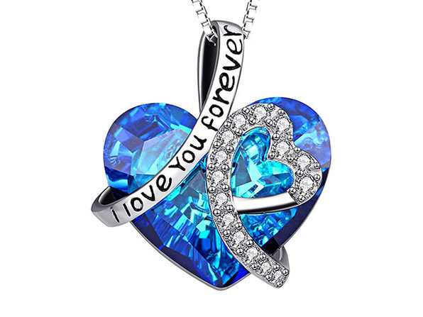 """I Love You Forever"" Blue Swarovski Crystals Heart Necklace"