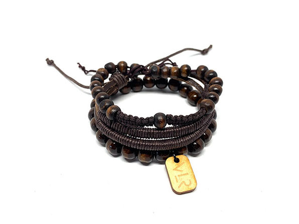 Brown Wood & Leather Bracelets: 3-Pack