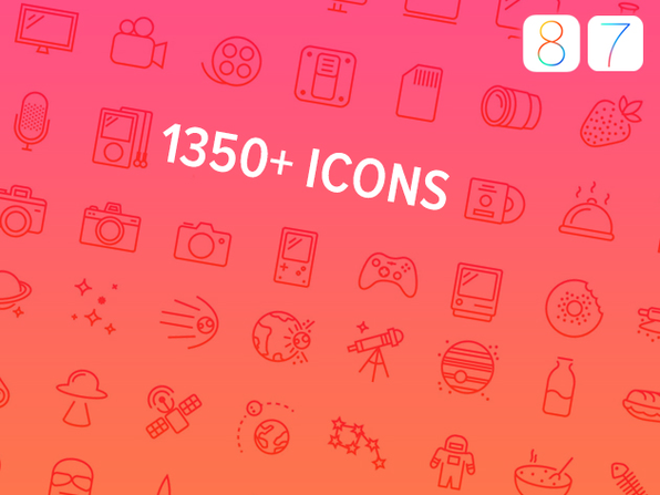 1350+ Retina Icons for iOS 7 + iOS 8 - Product Image