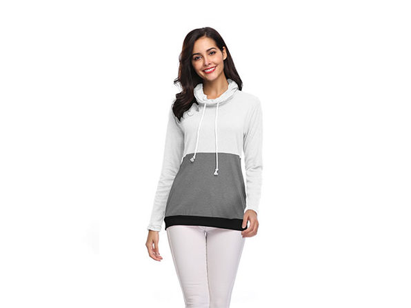 Two-Tone Cowl Neck Pullover with Thumb Holes (White/Large)