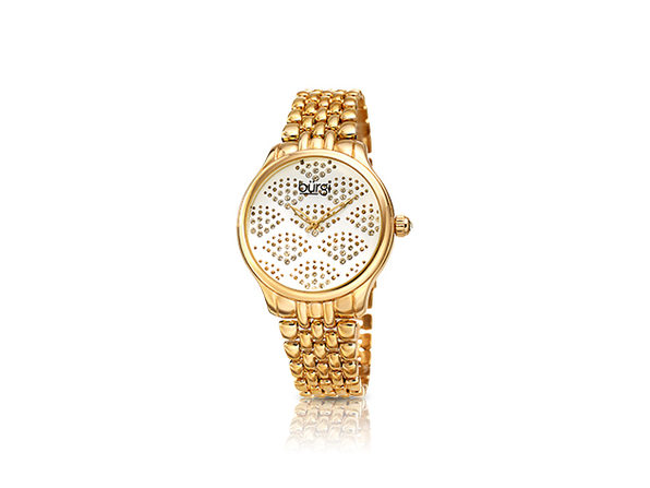 Bürgi Diamond Sparkle Bracelet Watch with Swarovski Crystals (Gold/White)