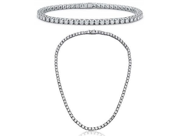 White Swarovski Crystal Multi-Stone Tennis Necklace & Bracelet 18K White Gold Plated - Product Image