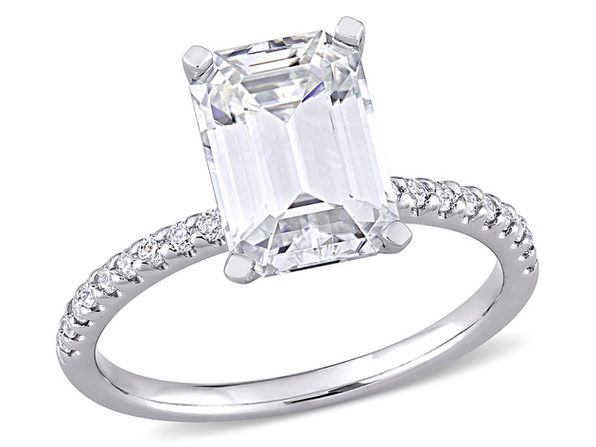 3.20 Carat (ctw) Lab Created Emerald-Cut Moissanite Engagement Ring in 10K White Gold - 4