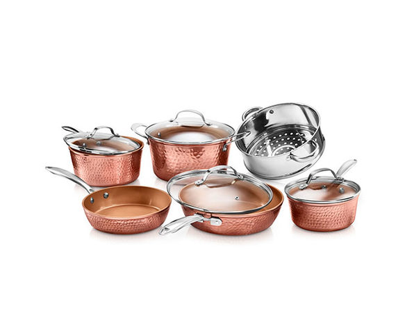 Gotham Steel Hammered Copper 10-Piece Non-Stick Ti-Ceramic Cookware Set with Lids