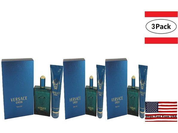 3 Pack Versace Eros by Versace Gift Set -- 3.4 oz Eau De Toilette Spray + 3.4 oz Shower Gel for Men