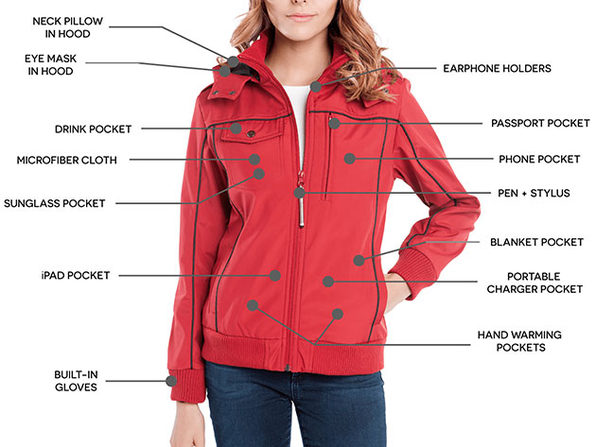 BauBax Women's Bomber Jacket (Red/Medium)