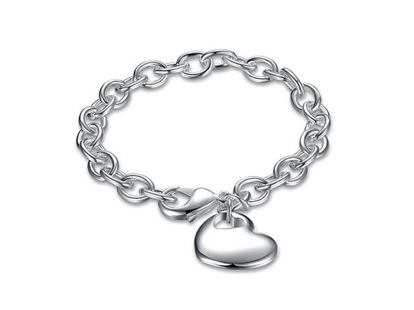 18K White Gold Plated Classic Heart Bracelet