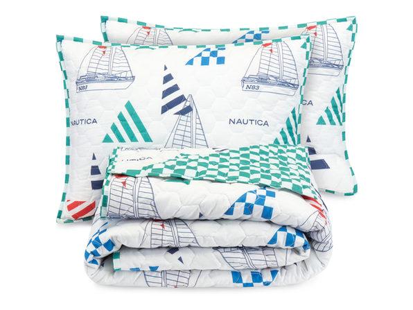 Nautica Sailboat Checkers 100% Cotton Kids Quilt Set