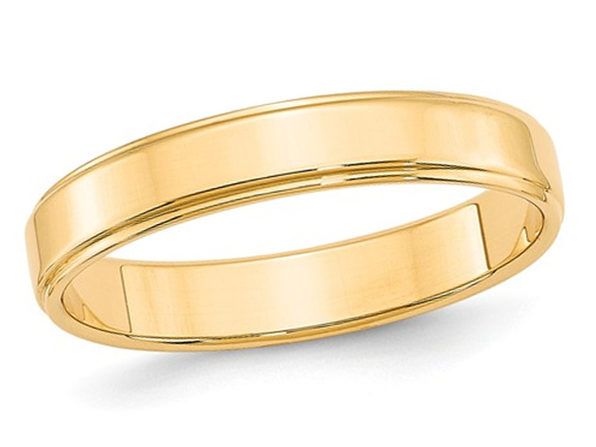 Ladies 14K Yellow Gold 4mm Flat Wedding Band with Step Edge - 9