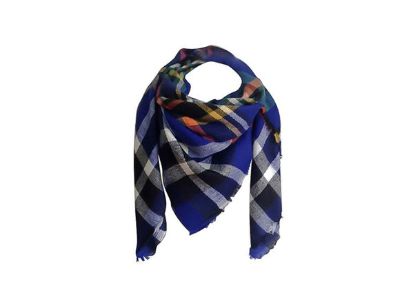 Oversized Wrap Scarf (Blue/Multi)
