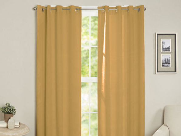 Maria Thermal Blackout Grommet-Top Curtain: 2 Panels (Gold)