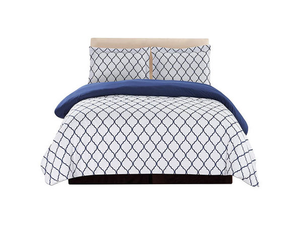 Lux Decor Collection 3-Piece White/Blue Duvet Cover Set