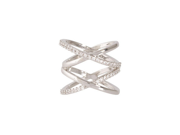 Double X Ring in Silver (Size 7)