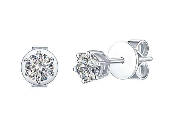 Essentials 0.50CT Lab-Grown Diamond Solitaire Earrings in 10K White Gold