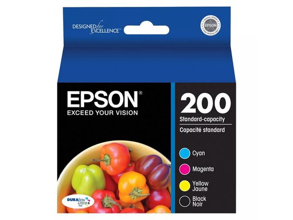 Epson 200 4 Pack Ink Cartridges, Black, Yellow, Magenta and Cyan with DURABrite Ink (New Open Box)