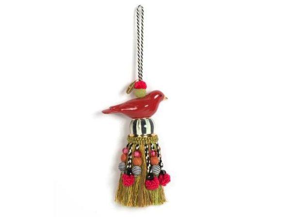 """MacKenzie-Childs Ceramic Bird Tassel - Red & Gold  13"""""""